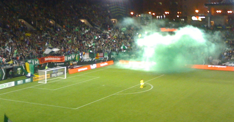 Timbers Army celebrate a goal