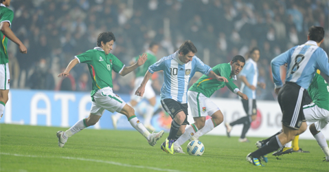 Lionel Messi taking on Mexico